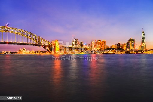 Colourful sunset over Sydney city CBD on waterfront of Sydney harbour near the Harbour bridge.