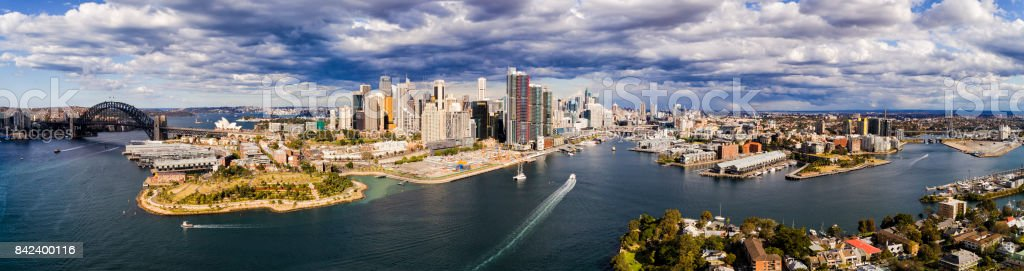DJI Sy CBD Barangaroo 120m day pan stock photo