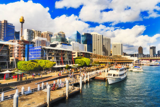 sy kings wharf day - barangaroo stock photos and pictures