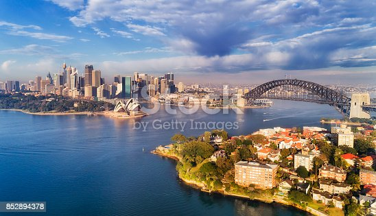 Quiet still earlier morning gentle sun light over Sydney city main landmarks around Harbour waters and shores between CBD and lowe North Shore.