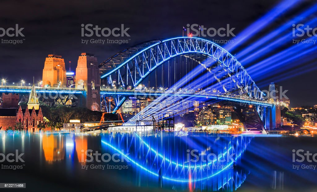 Sy vivid 17 Bridge Beams Reflect stock photo