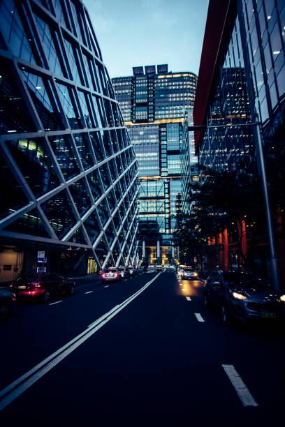 Sydney, Australia - 23 Mar 2018: Office buildings along Shelley Street and Barangaroo. stock photo