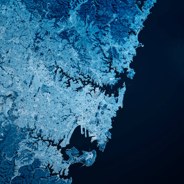 Sydney Australien 3D Render Karte Blau Top Ansicht Jul 2019 – Foto