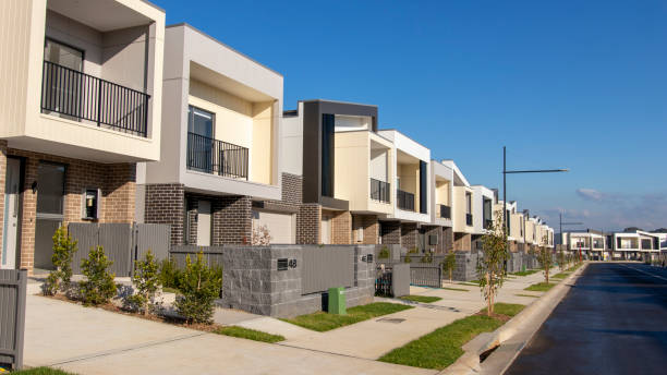Sydney, Australia - 3rd June, 2019: New housing construction on the outer suburbs of Sydney. Sydney, Australia - 3rd June, 2019: New housing construction on the outer suburbs of Sydney. public housing stock pictures, royalty-free photos & images