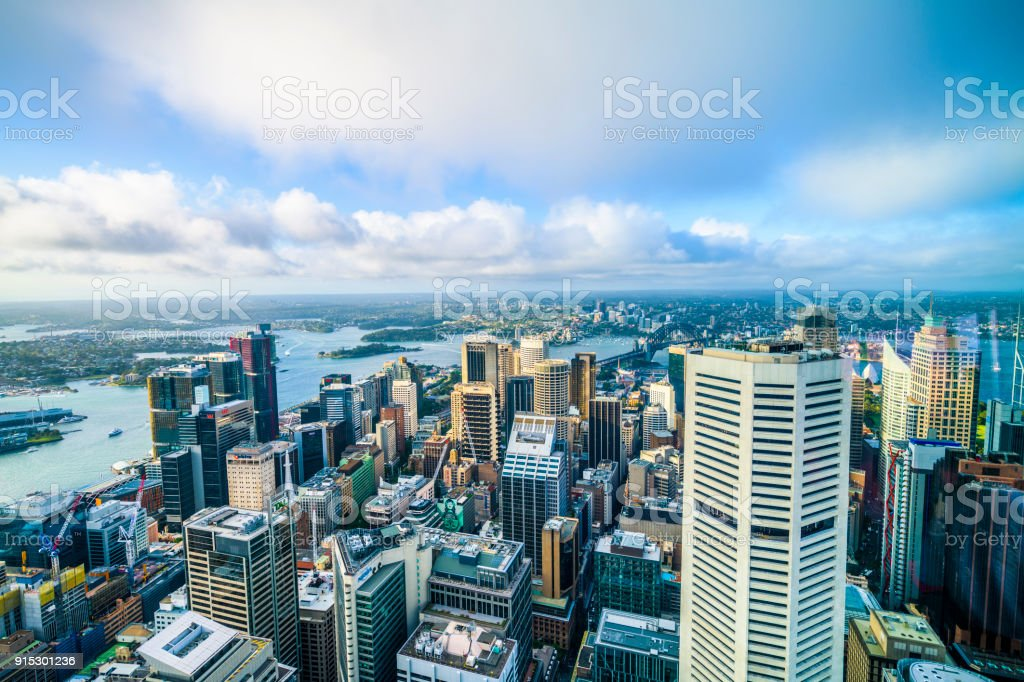 Sydney business district and harbour stock photo