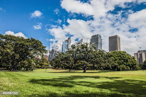 Sydney financial district and Royal Botanic Garden during a beautiful day.