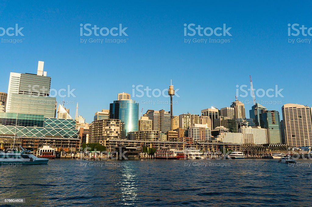 Sydney CBD city view of Darling Harbour and Sydney Tower stock photo