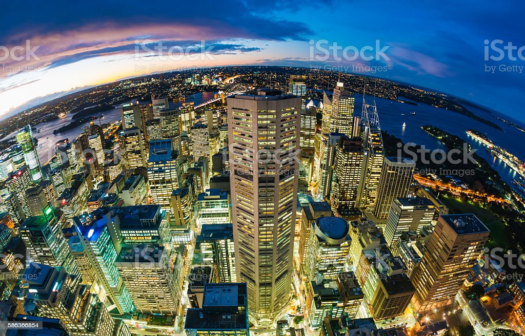 Sydney CBD from at night stock photo