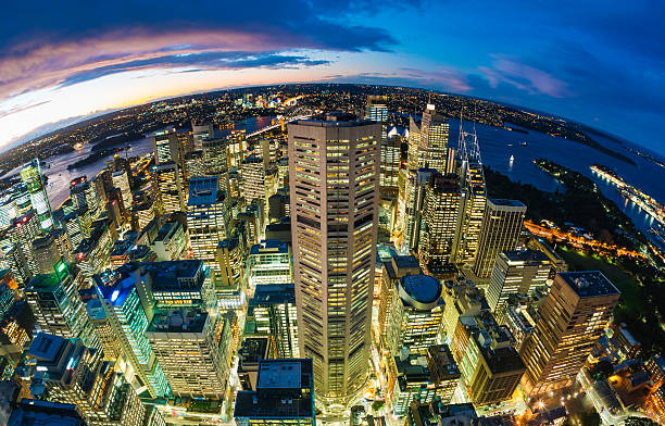 Sydney CBD from at night Aerial view of Sydney CBD from at night, fisheye view fish eye lens stock pictures, royalty-free photos & images