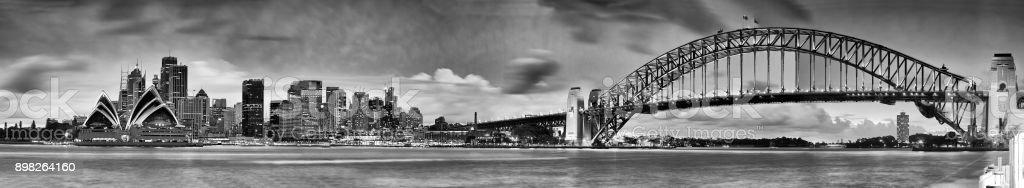 Sydney CBD From Kirribilli 5 hor BW stock photo