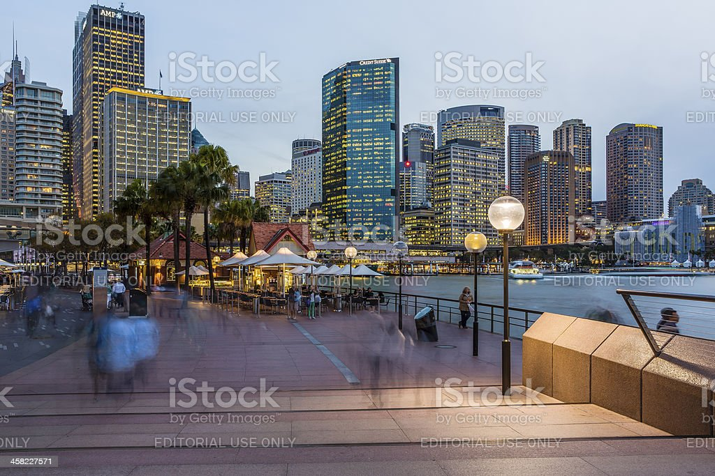 Sydney Circular Quay at Dusk. stock photo