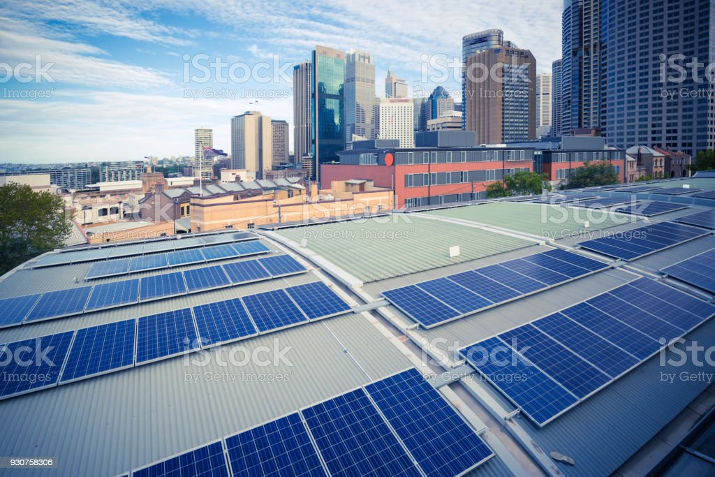Sydney, City Architecture and Photovoltaic Panels stock photo