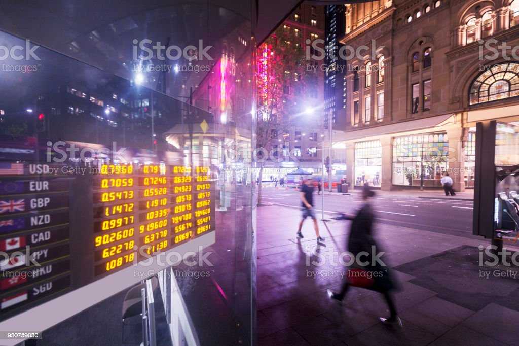 Sydney City, bank's electronic display stock photo