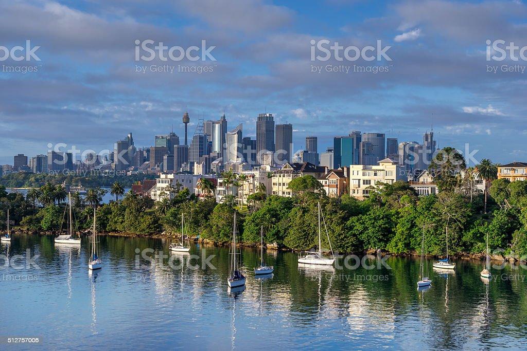 Sydney City from Mosman Bay stock photo
