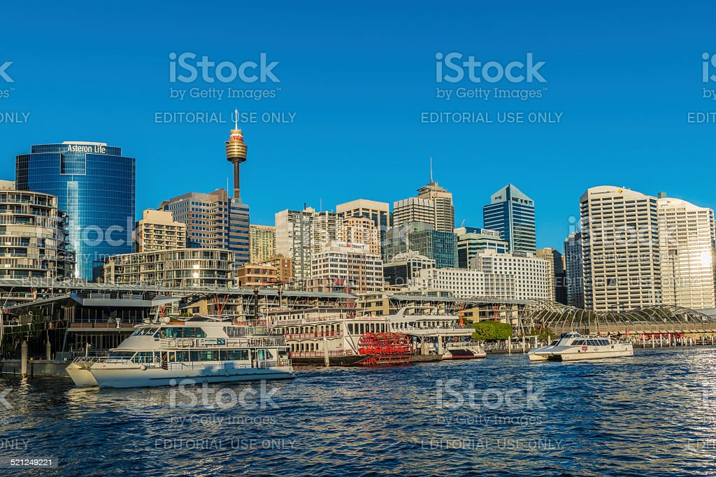 Sydney City Highrise Skyline, Cockle Bay, Darling Harbour, Australia stock photo