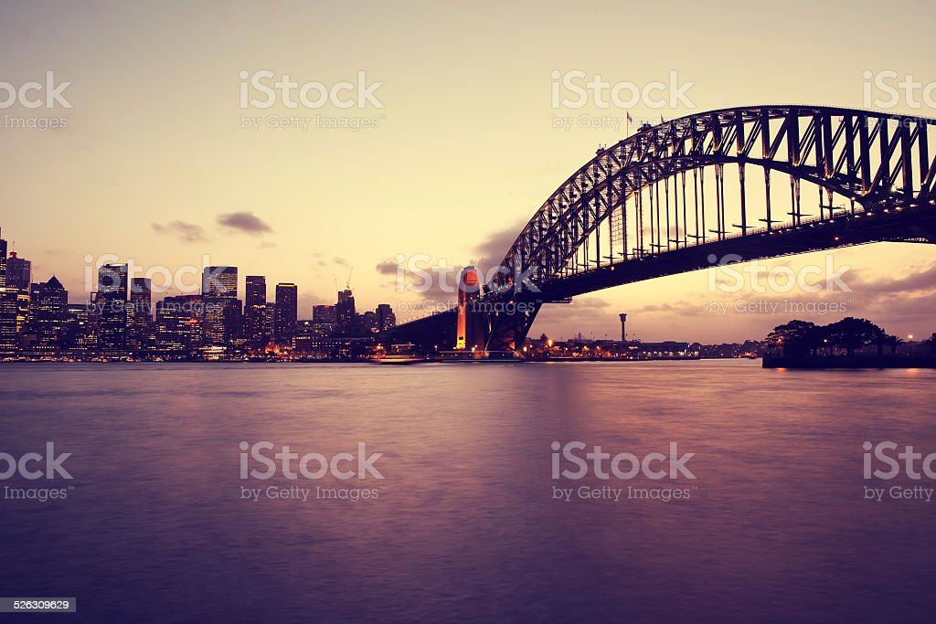 Sydney city skyline in the evening stock photo