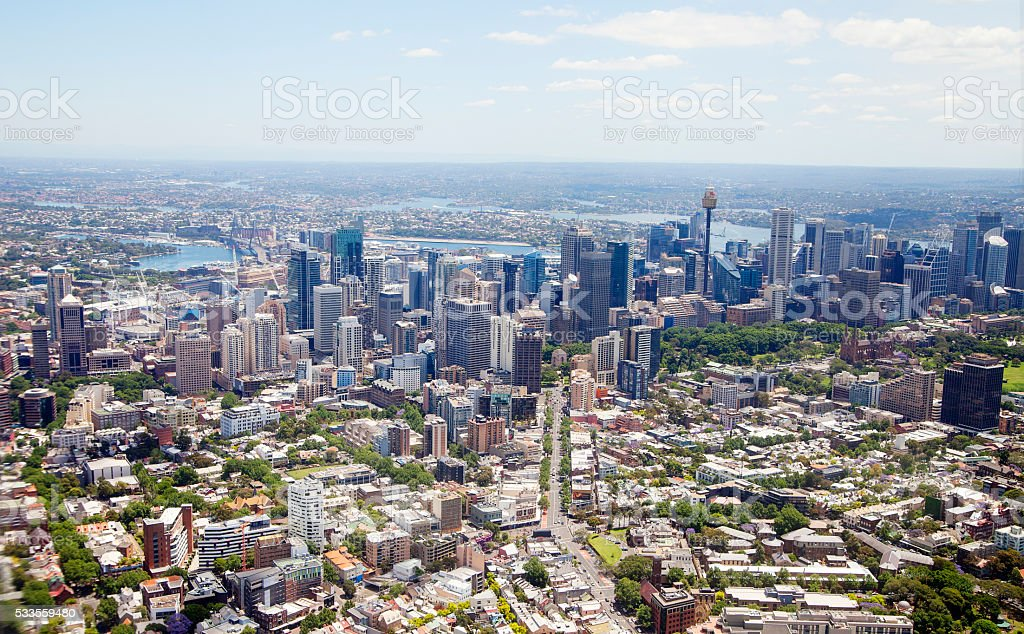 Sydney Cityscape aerial view stock photo