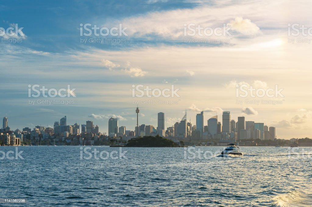 Sydney cityscape and Sydney Harbour on sunset stock photo