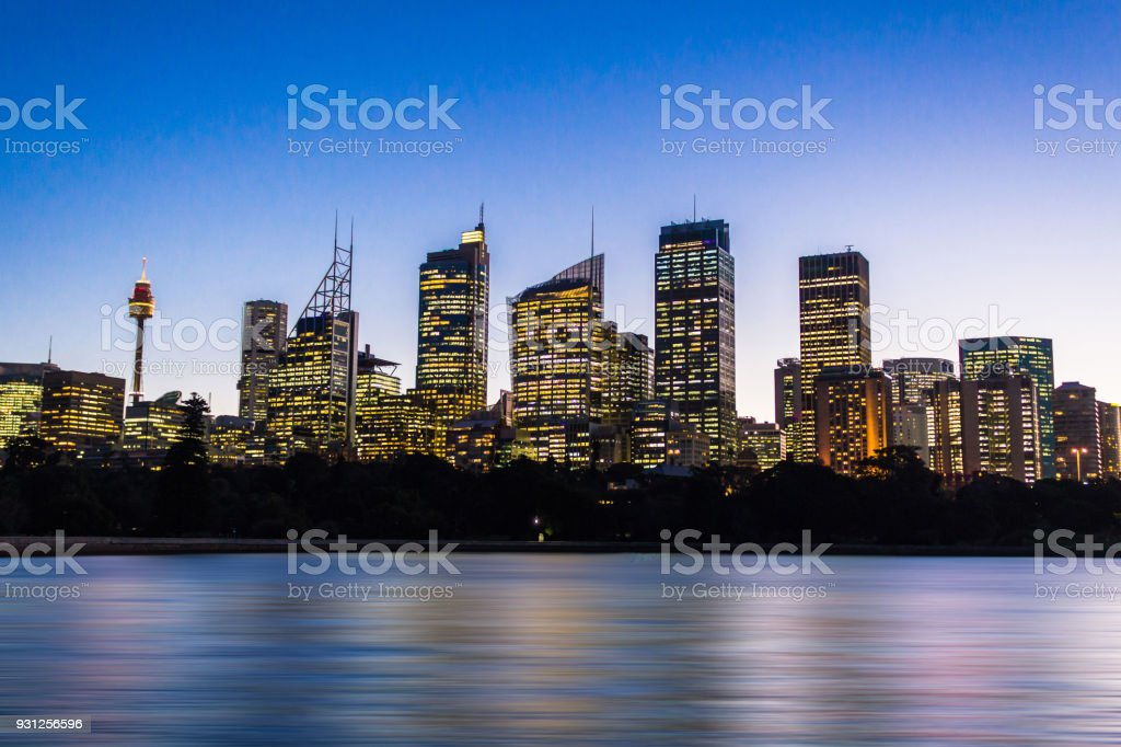 Sydney cityscape view during dusk stock photo