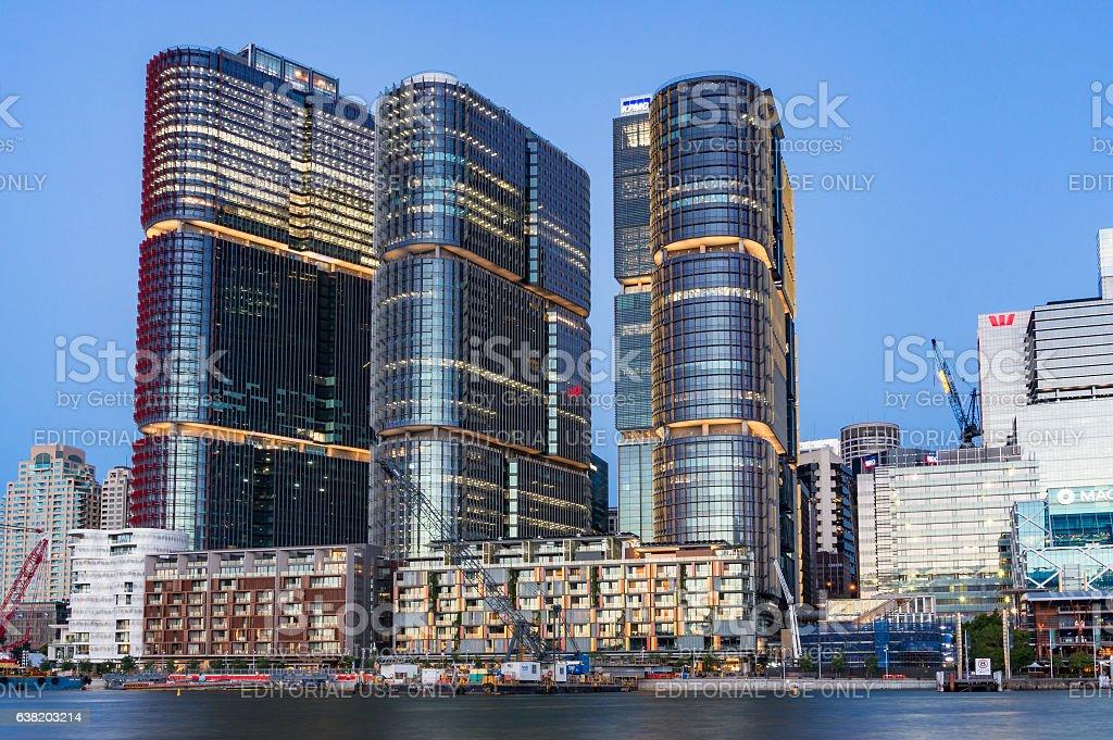Sydney cityscape with Barangaroo buildings at dusk – Foto