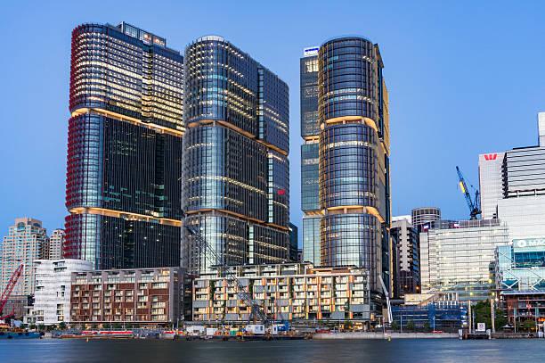 sydney cityscape with barangaroo buildings at dusk - barangaroo stock photos and pictures