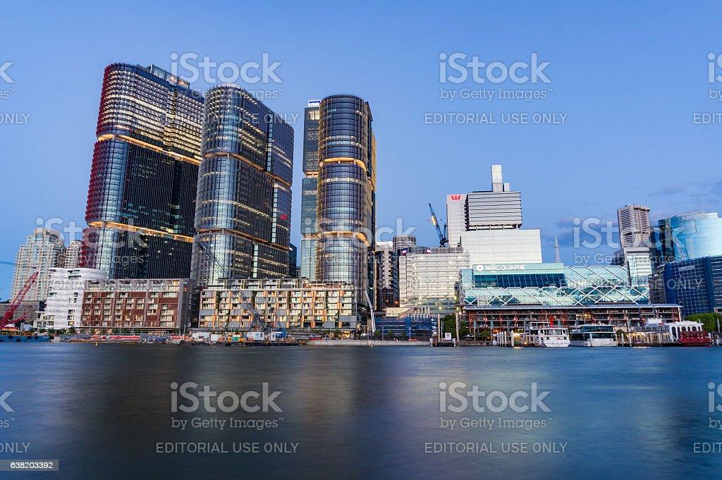 Sydney cityscape with Barangaroo buildings at dusk stock photo