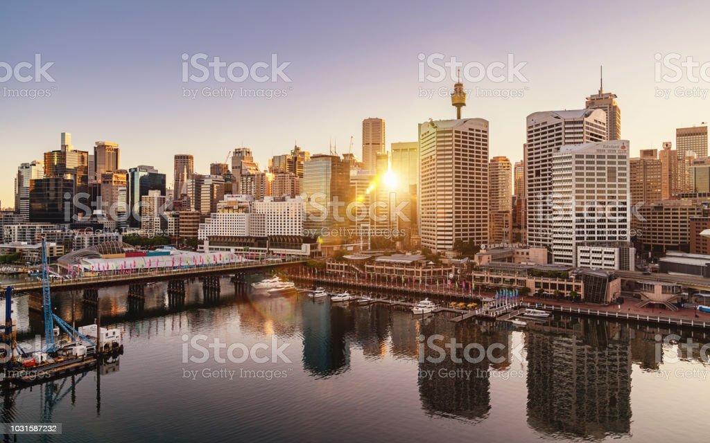 Sydney Darling Harbour Cityscape at Sunrise Australia stock photo
