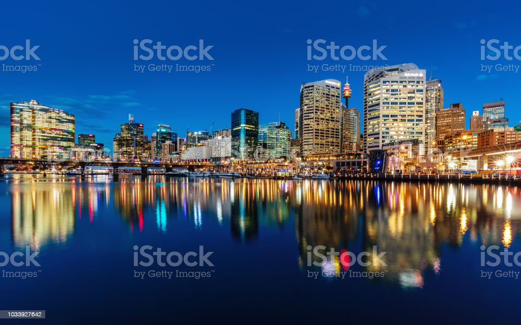 Sydney Darling Harbour Cityscape Reflections at Night Australia stock photo