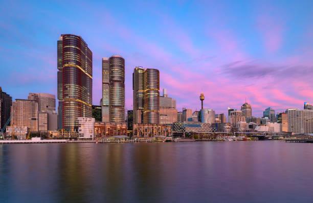 Sydney, Darling Harbour on sunset. stock photo