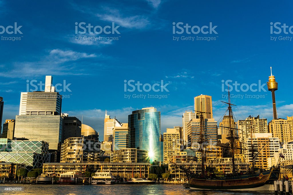 Sydney Darling harbour view with city skyline stock photo