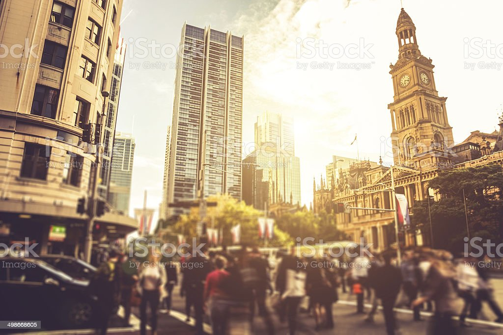 Sydney downtown, blurred intersection traffic stock photo