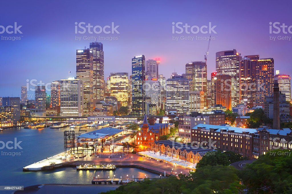 Sydney downtown by twilight stock photo