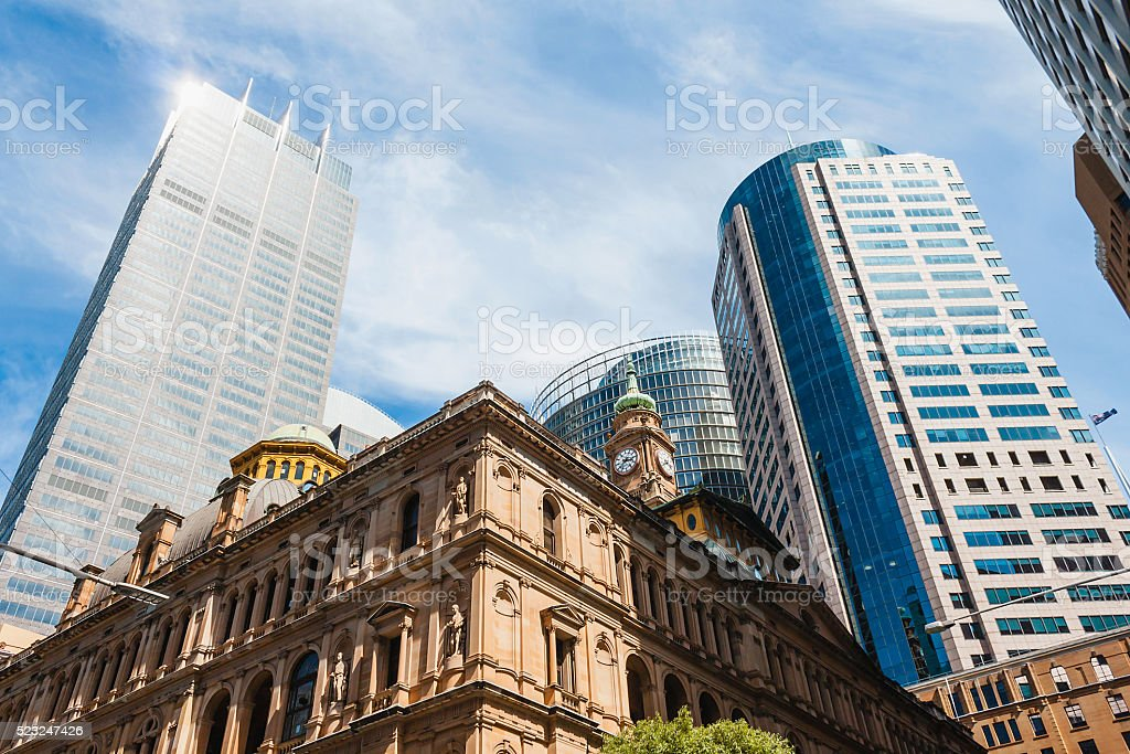 Sydney Downtown CBD Skyline, Australia, view from Bridge Street stock photo