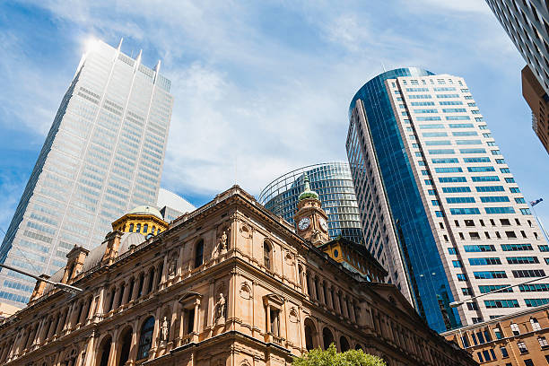 Sydney Downtown CBD Skyline, Australia, view from Bridge Street stock photo