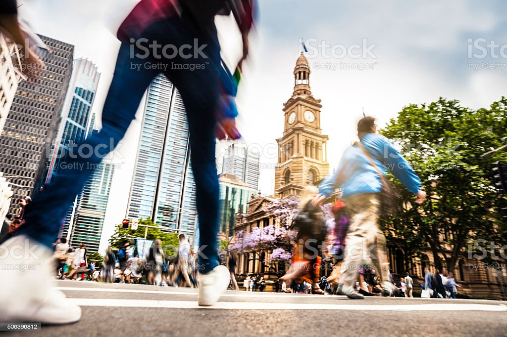 Sydney downtown, intersection people and traffic stock photo