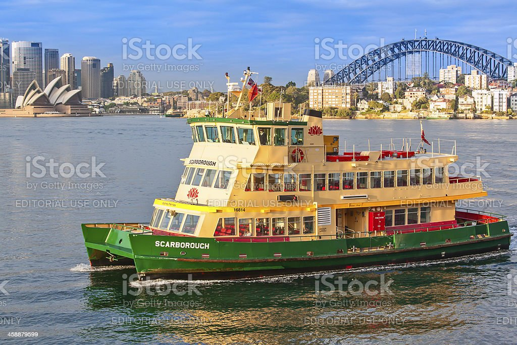 Sydney ferry arriving at Cremorne Wharf stock photo
