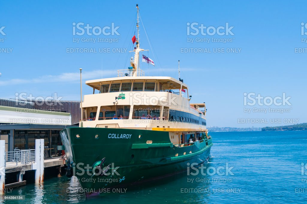 Sydney ferry at Manly station stock photo