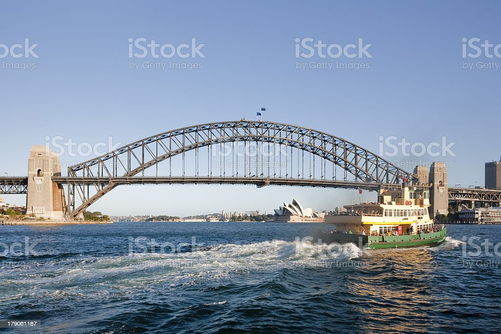 Sydney Ferry Crossing  Harbour Bridge Opera House royalty-free stock photo