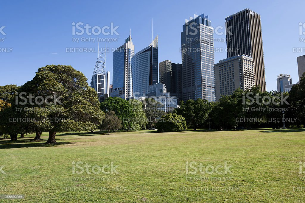 Sydney Financial District from the Royal Botanical Gardens stock photo