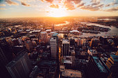 View of sunset in Sydney from above