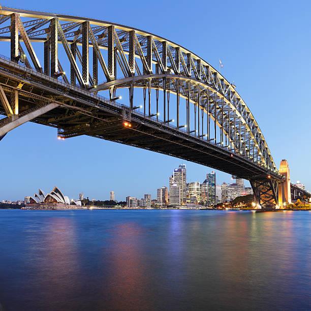 Sydney Harbor Bridge against skyline at night stock photo