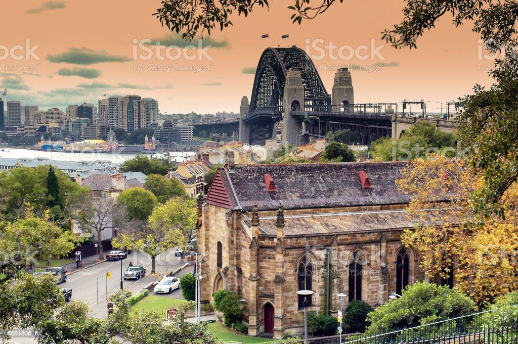 Sydney Harbor Bridge and North Shore buildings royalty-free stock photo