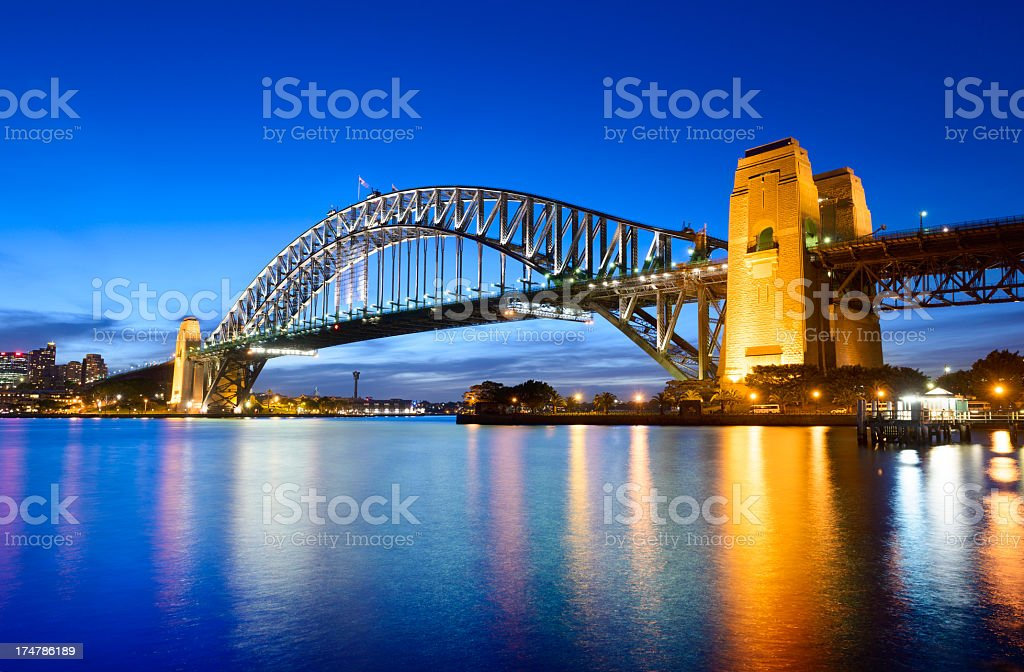 Sydney Harbor Bridge at Night Australia stock photo