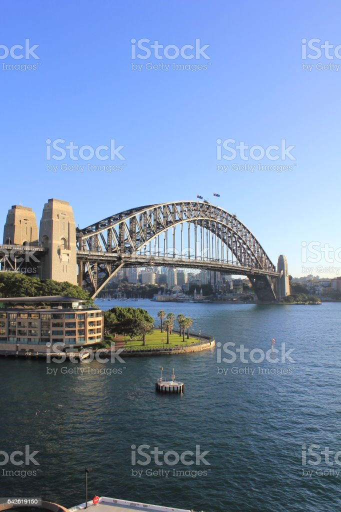 Sydney Harbor Bridge From the Back of a Cruise Ship stock photo