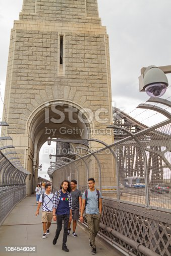 Sydney, Australia - January 23, 2019: People walking along footbridge with fencing and view of steel through arch Sydney Harbour Bridge and pylons in Sydney, Australia.