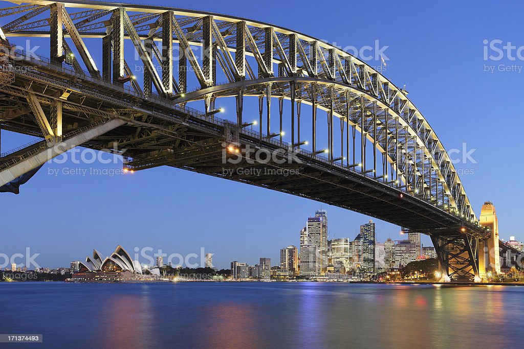 Sydney Harbor Bridge with Sydney Opera House at dusk stock photo