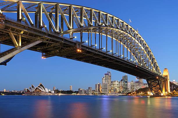 Sydney Harbor Bridge with Sydney Opera House at dusk stock photo