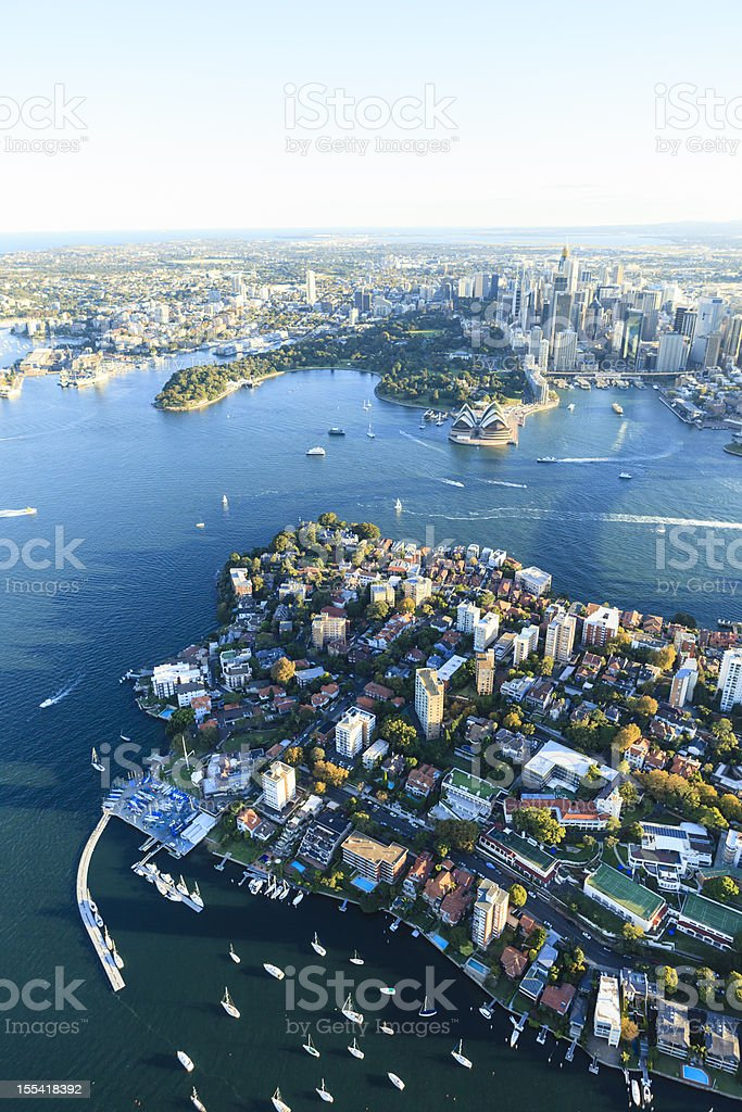 Sydney harbor - opposite Opera House, Kirribilli stock photo