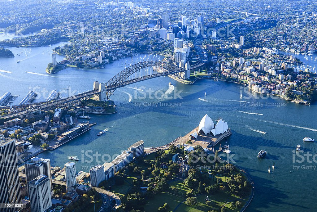 Sydney harbor panorama stock photo