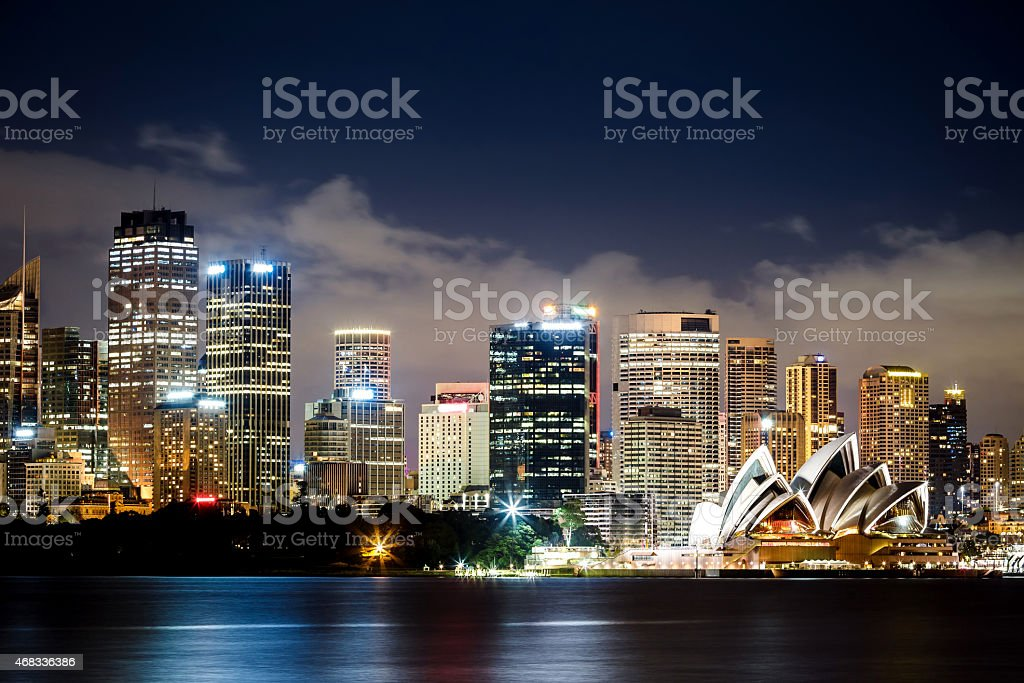 Sydney Harbor skyline at night stock photo